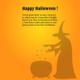 Szczęśliwy Halloweenowy plakat z cieniem czarownica Zdjęcia Royalty Free