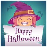 Szczęśliwy Halloweenowy plakat z małą dziewczynką w kostiumu czarownica z pergaminem na zmroku - błękitny tło szczęśliwego hallow ilustracja wektor