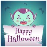 Szczęśliwy Halloweenowy plakat z małym dzieckiem w kostiumu wampir z pergaminem na zmroku - błękitny tło szczęśliwego halloween ilustracja wektor