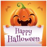 Szczęśliwy Halloweenowy plakat z uśmiechniętą banią z pergaminem na pomarańczowym tle Szczęśliwy Halloween przyjęcie zdjęcia stock