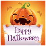 Szczęśliwy Halloweenowy plakat z uśmiechniętą banią z pergaminem na pomarańczowym tle Szczęśliwy Halloween przyjęcie ilustracja wektor