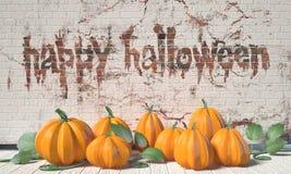 Szczęśliwy Halloweenowy powitanie z baniami i zielenią leafs na drewnianym Fotografia Stock
