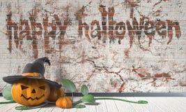 Szczęśliwy Halloweenowy powitanie z Jack O Latarniową banią i zielenią royalty ilustracja