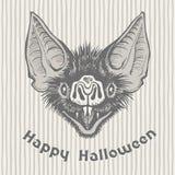 Szczęśliwy Halloweenowy rocznika kartka z pozdrowieniami z wampira nietoperza ` s głową ilustracji
