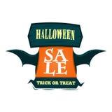 Szczęśliwy Halloweenowy sprzedaży oferty projekta szablon Wektorowa ilustracja z latanie tytułem i drewnianym znakiem button ręce Zdjęcie Royalty Free