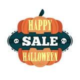 Szczęśliwy Halloweenowy sprzedaży oferty projekta szablon Wektorowa ilustracja z oddzieloną banią i tytułem button ręce s push od Fotografia Royalty Free