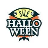 Szczęśliwy Halloweenowy sprzedaży oferty projekta szablon Wektorowa ilustracja z oryginału nietoperzem i tytułem button ręce s pu Zdjęcie Royalty Free