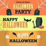 Szczęśliwy Halloweenowy sprzedaży oferty projekta szablon Wektorowa ilustracja z trzy jaskrawymi sztandarami button ręce s push o Zdjęcia Stock