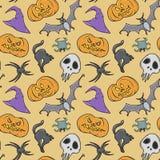 Szczęśliwy Halloweenowy straszny bezszwowy wzór Obrazy Royalty Free