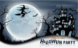 Szczęśliwy Halloweenowy tło z banią, księżyc w pełni Halloween przyjęcie również zwrócić corel ilustracji wektora Obraz Stock