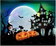 Szczęśliwy Halloweenowy tło z banią, księżyc w pełni Halloween przyjęcie również zwrócić corel ilustracji wektora Obrazy Stock
