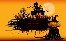 Szczęśliwy Halloweenowy tło z banią, księżyc w pełni Halloween przyjęcie również zwrócić corel ilustracji wektora Zdjęcia Royalty Free