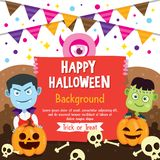 Szczęśliwy Halloweenowy tło z wampira i Frankenstein kostiumem Obraz Royalty Free