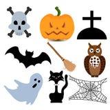 Szczęśliwy Halloweenowy ustawiający wektorowe ikony Zdjęcia Royalty Free