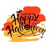 Szczęśliwy Halloweenowy wektorowy literowanie projekt z nietoperzem i banią Wakacyjna kaligrafia również zwrócić corel ilustracji ilustracja wektor