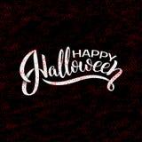 Szczęśliwy Halloweenowy wektorowy literowanie Wakacyjna kaligrafia z pająkiem i sieć dla sztandaru, plakat, kartka z pozdrowienia Zdjęcie Stock