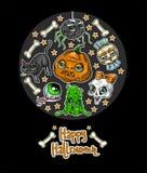 Szczęśliwy Halloweenowy wiadomość projekta tło z baniami, czaszka, pająk, Szlamowy, kot, nietoperz, kość Zdjęcie Stock