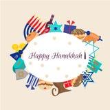 Szczęśliwy Hanukkah kartka z pozdrowieniami projekt Obrazy Stock
