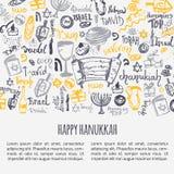 Szczęśliwy Hanukkah kartka z pozdrowieniami z ręka rysującym literowaniem i elementami Menorah, Dreidel, świeczka, hebrew gwiazda royalty ilustracja