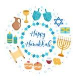 Szczęśliwy Hanukkah ustawiający ikony w round kształcie, kartka z pozdrowieniami projekta pożarniczy notatnika szablonu pisać twó Fotografia Stock