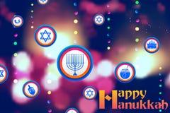 Szczęśliwy Hanukkah, Żydowski wakacyjny tło Zdjęcia Stock
