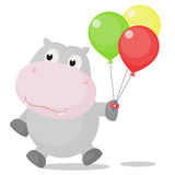 Szczęśliwy hipopotam z Kolorowymi balonami Obraz Royalty Free