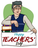 Szczęśliwy historia profesor z powitanie sztandarem dla nauczyciela dnia, Wektorowa ilustracja ilustracja wektor