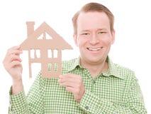 Szczęśliwy houseowner zdjęcia royalty free