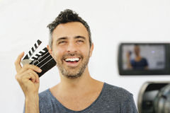 Szczęśliwy i kreatywnie filmkmaker Zdjęcie Stock