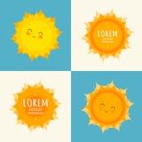 szczęśliwy ilustracyjny słońce Słońce sztuki wektor Fotografia Stock