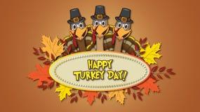 Szczęśliwy Indyczy dnia dziękczynienie z Cztery indykami ilustracja wektor