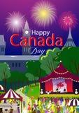 Szczęśliwy Kanada dnia plakat również zwrócić corel ilustracji wektora Ottawa park, wakacyjny festiwal Ludzie na przedpolu i scen Zdjęcie Royalty Free