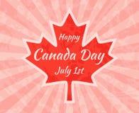 Szczęśliwy Kanada dzień na liściu klonowym Zdjęcie Royalty Free