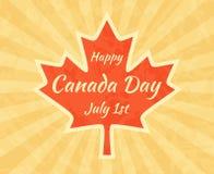 Szczęśliwy Kanada dzień na liściu klonowym ilustracji