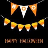 szczęśliwy karciany Halloween Chorągiewek flaga paczki okrzyki niezadowolenia listy Cukierek kukurudza Chorągwiana girlanda Party ilustracji