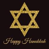 szczęśliwy karciany Hanukkah Gwiazda Dawidowa z złocistym błyskotliwość skutkiem Tradycyjny Żydowski symbol Kreatywnie wakacyjny  Zdjęcia Royalty Free