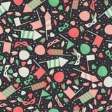 Szczęśliwy Karnawałowy Świąteczny Bezszwowy wzór z Maskowym fajerwerkiem Rocke Zdjęcie Royalty Free