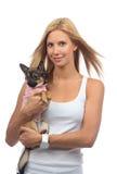 Szczęśliwy kobieta chwyt w ręki chihuahua małym psie lub szczeniaku Zdjęcia Stock