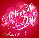Szczęśliwy kobieta dnia kartka z pozdrowieniami, prezent karta na różowym tle z projektem i tekst 8th Marzec, kobiety Obrazy Stock