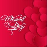 Szczęśliwy kobieta dnia kartka z pozdrowieniami, prezent karta na różowym tle z projektem i tekst 8th Marzec, kobiety Fotografia Stock