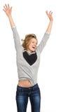 Szczęśliwy kobiety doskakiwanie odizolowywający Obraz Royalty Free