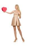 Szczęśliwy kobiety mienia giftbox odizolowywający Obraz Royalty Free