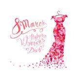Szczęśliwy kobiety ` s dzień! 8 Marzec Suknia różowi płatki royalty ilustracja