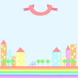 Szczęśliwy kolorowy miasto ilustracji