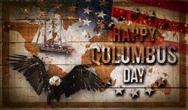 Szczęśliwy Kolumb dnia sztandar, patriotyczny tło obrazy royalty free