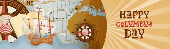 Szczęśliwy Kolumb dzień Ameryka Odkrywa Wakacyjnego Plakatowego kartka z pozdrowieniami Światowej mapy Retro Horyzontalnego sztan ilustracja wektor