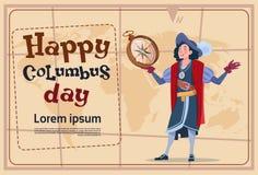 Szczęśliwy Kolumb dzień Ameryka Odkrywa Wakacyjnego Plakatowego kartka z pozdrowieniami ilustracja wektor