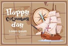 Szczęśliwy Kolumb dzień Ameryka Odkrywa Wakacyjnego Plakatowego kartka z pozdrowieniami royalty ilustracja