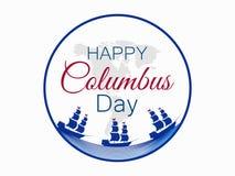 Szczęśliwy Kolumb dzień odkrywca Ameryka, fala i statek, wakacyjny sztandar Żeglowanie statek z masztami wektor royalty ilustracja