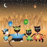 szczęśliwy kot rodziny walk Zdjęcie Royalty Free